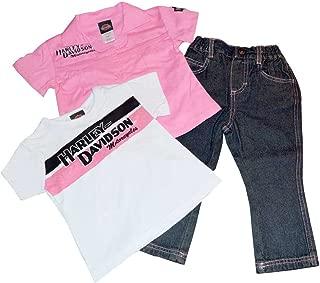 HARLEY-DAVIDSON Baby Girls' 3 Piece Set, Prestige Tee & Denim Pant, Pink 0312346