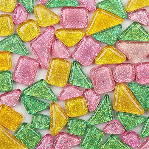 Azulejos irregulares mixtos 120 g (aproximadamente 85 piezas) Mosaico de cerámica de forma irregular brillante / intermitente Mosaico Material de artesanía Cuadrado / Diamante Adecuado para la familia