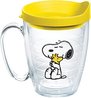 Tervis 1140866 Peanuts - Felt Tumbler with Emblem and Yellow Lid 16oz Mug, Clear