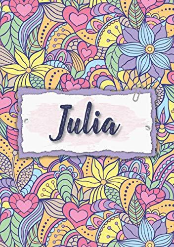 Julia: Taccuino A5 | Nome personalizzato Julia | Regalo di compleanno per moglie, mamma, sorella, figlia | Design: floreale | 120 pagine a righe, piccolo formato A5 (14.8 x 21 cm)