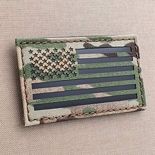 Multicam Infrared IR USA American Flag 3.5x2 IFF Tactical Morale Hook&Loop Patch