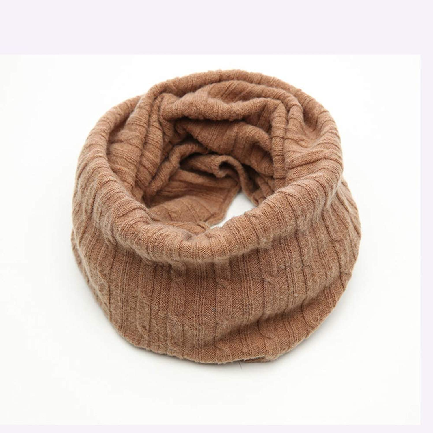 Solid 100% Wool Bib,Men and Women Wild Scarf,Autumn and Winter Warm Scarf, 55x26cm (color   Flower Camel)