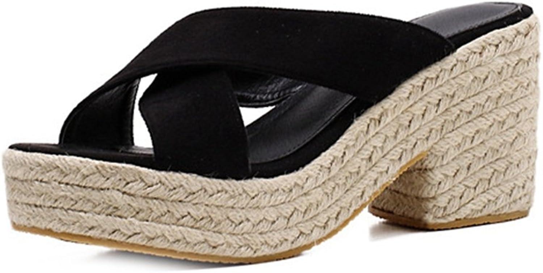 GIY Women's Espadrille Wedge Platform Slide Sandals Chunky High Heel Slip On Sandal Summer Beach Slipper