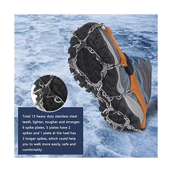 Unigear Crampones Ligero de Nieve Hielo 18 Puntas Dientes De Acero Zapatos Antideslizante para Cámping Alpinismo… 2