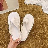 Sandalia Casual con Tiras,Zapatillas de Sandalia de Playa de Manguera de Verano, Fondo Grueso-Blanco_37,Sandalias de Ducha