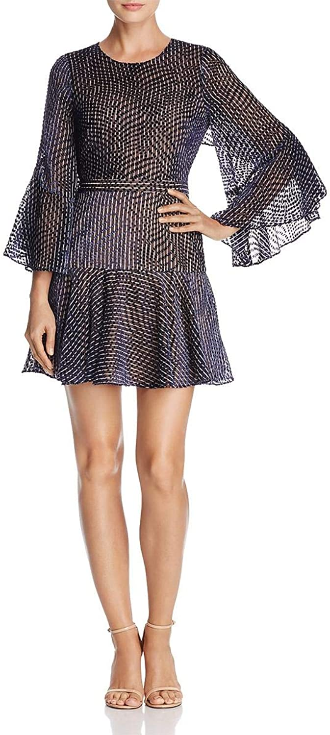 BCBG Max Azria Womens Baylee Sheer Bell Sleeves Party Dress
