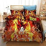 Juego de cama con funda nórdica de cómics para niños 3D Dragon Ball, cama individual, cama doble, suave y cómoda funda de edredón niño adolescente funda de almohada ropa de cama-J_230x260cm (3pcs)