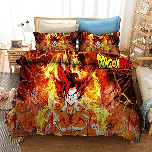 Juego de cama con funda nórdica de cómics para niños 3D Dragon Ball, cama individual, cama doble, suave y cómoda funda de edredón niño adolescente funda de almohada ropa de cama-J_135x200cm (2pcs)