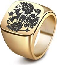 JAJAFOOK Men's Double Headed Imperial Eagle Ring Byzantine Emperor Russian Federation Coat of Arms Signet