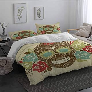 Duvet Cover Set with Invisible Zipper Closure Sugar Skull Skull and Roses Colorful Vintage Composition with Smiling Gothic Face Artistic Easy Fit Extra Soft Multicolor Full
