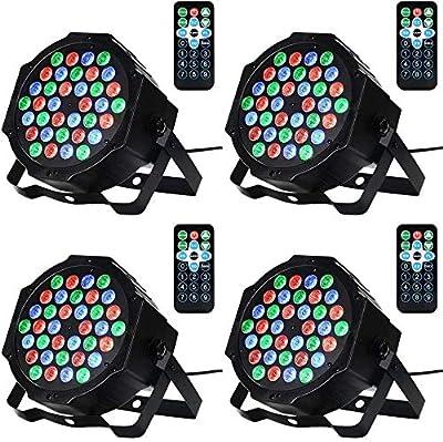Litake Disco Lights, 4 Pack 36 LEDs Strobe Lights 7 Lighting Modes DJ Light RGB Colourful Stage Lights Flexible Remote Control DMX Control Par Lights with UK Plug