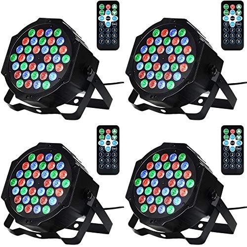 Litake Stage Lights, 4 Pack 36LED Par Lights RGB Colourful 7 Lighting Modes DJ Lighting Remote/DMX Control Strobe Lights with UK Plug for Party Show DJ Disco