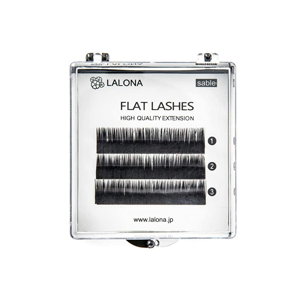 LALONA [ ラローナ ] フラットラッシュ (BLK) (3列) まつげエクステ 平面加工 Lディテール ブラック (Dカール 0.1 / 10mm)