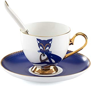 Tea Cup and Saucer Set-6.8oz Bone China Fox Coffee Mug Teacup Fine Dining and Table Decor Teacups with Saucer and Spoon For Tea Party