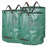 BESISOON Macetas 3 Paquetes de residuos de jardinería Bolsas de 72 galones Hojas de la Rama Recogida de Limpieza cestas de Almacenamiento de Jardín (Color : Green, Size : One Size)