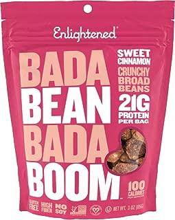 Enlightened Bada Bean Bada Boom Plant-based Protein, Gluten Free, Vegan, Non-GMO, Soy Free, Kosher, Roasted Broad Fava Bean Snacks, Sweet Cinnamon 3oz (Pack of 6)