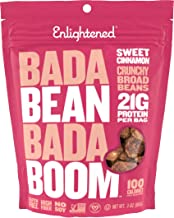 Enlightened Bada Bean Bada Boom Plant Protein Gluten Free Roasted Broad (Fava) Bean Snacks, Sweet Cinnamon, 3 Ounce (6 Count)