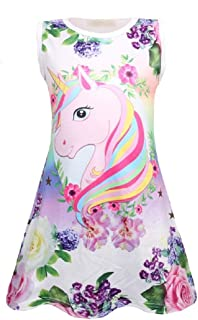 Summer Girls Unicorn Princess Dresses Birthday Gifts Sleepwear Nightie Dresses Unicorn Gift for Girls