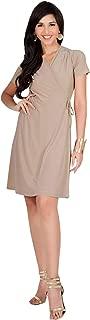 KOH KOH Womens Cute Casual V-Neck Wrap Short Sleeve Work Knee Length Midi Dress