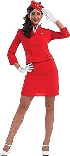 Womens Cabin Crew Costume Adults Bright Red Air Hostess Stewardess Uniform