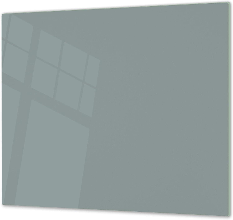 Cubre vitrocerámica y tabla de cortar de cristal templado – Superficie de vidrio templado resistente – UNA PIEZA (60 x 52 cm) o DOS PIEZAS (30 x 52 cm); D18 Serie de colores: ZB Gris