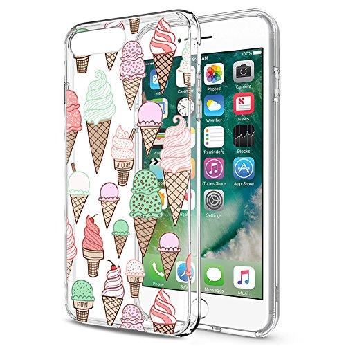 Eouine Cover iPhone SE / 5s / 5, Ultra Slim Cover Trasparente con Disegni, Morbido Antiurto 3D Cartoon Gel Custodia Bumper Case in TPU Silicone per Apple iPhone SE / 5s / 5 (Gelato)