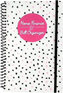 Home Finance & Bill Organizer with Pockets (Small Black and Pink Dots)