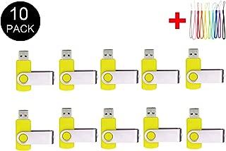 10PCS 2.0/3.0 USB Flash Drive Pen Drive Memory Stick Thumb Stick Pen Black (2.0/8GB, Yellow)