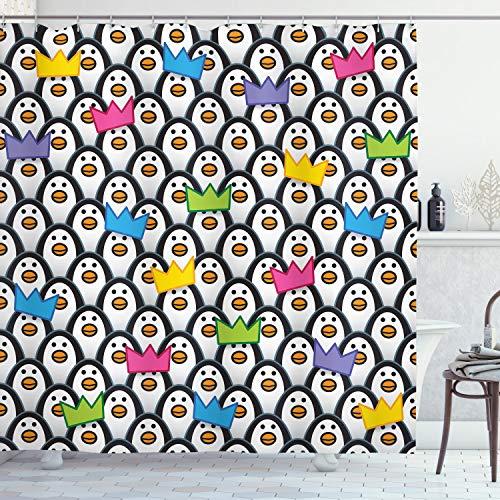 ABAKUHAUS Bunt Duschvorhang, Pinguin-EIS-Tiere, mit 12 Ringe Set Wasserdicht Stielvoll Modern Farbfest & Schimmel Resistent, 175x180 cm, Mehrfarbig
