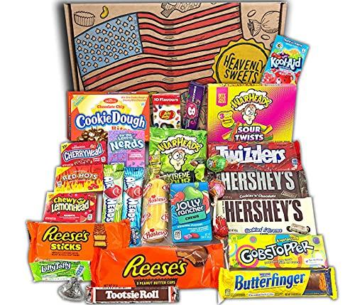 Confezione Grande di Snack Americani | Caramelle e Cioccolato per Idea Regalo di Natale e Compleanno | Vasta Gamma tra cui Jolly Rancher Hershey Jelly Belly | 27 Pezzi in Confezione Vintage di Cartone