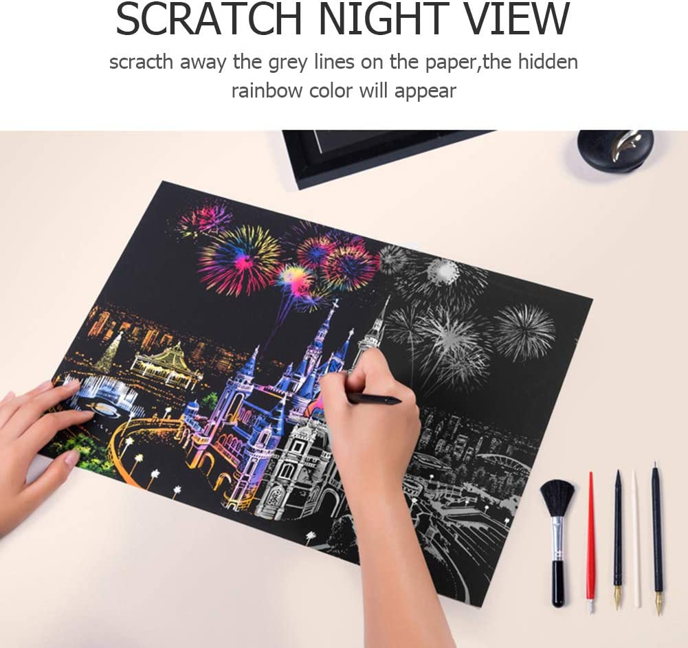 15.94x11.22in - Scratch Art Rainbow Painting Art Craft Puzzle Drawing Toys with Wood Scraper Pen Amusement Park Wiixiong DIY Scratch Painting Paper