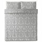 JATTEVALLMO Duvet Cover Set King Pillowcases Paisley White Gray