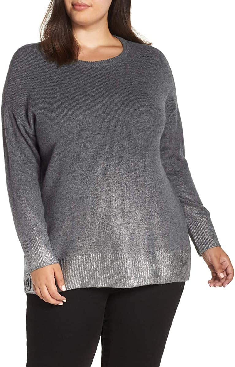 VINCE CAMUTO Women's Plus Ombre Metallic Scoop Neck Sweater Top