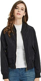 SUNDAY ROSE Women's Bomber Jacket Short Lightweight Jacket Spring Outerwear