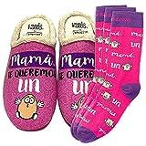 Zapatillas de casa y Trio de Calcetines, Originales y Personalizados. Mama te Queremos un Huevo. 1 calcetin Gratis por el Que se te Pierde