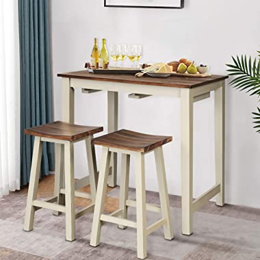 Giantex 3 Piece Pub Dining Set, Counter Height Pub Table with 2 Saddle Bar Stools, Tavern Collection Table Set for Living Roo