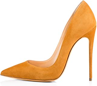Women Shoes Thin High Heel Stilettos Pointed Toe Patent Leather Shoes 4.7 inch Plus Big Size 15