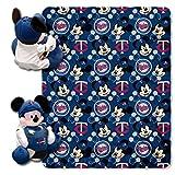 NORTHWEST MLB Minnesota Twins Character Hugger Pillow & Fleece Throw Blanket Set, 40' x 50', Mickey Mouse