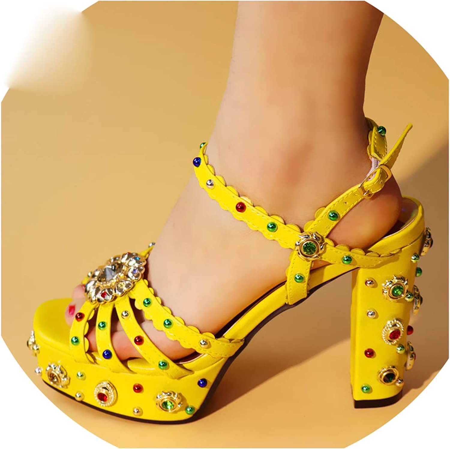 High Heels Open Toe Sandals Slip Decorated with Rhinestone Womens shoes Heels Elegant shoes