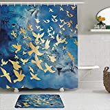 KISSENSU Cortinas con Ganchos,Golden Pigeon Resumen Moda Arte Silueta Único Moderno Nórdico,Cortina de Ducha Alfombra de baño Bañera Accesorios Baño Moderno