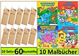 Libetui 10 Sets Buntstifte Malsets für Kinder Gastgeschenke Mitgebsel für Kinderparty Geburtstag, Mit Malbücher