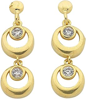Bevilles 9ct Yellow Gold Silver Infused Double Ring Drop Earrings