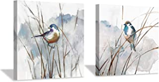 """Abstract Picture Bird Wall Art: Animal Birds on Reed Watercolor Artwork Painting on Canvas for Bedroom (12"""" x 12"""" x 2 Panels)"""