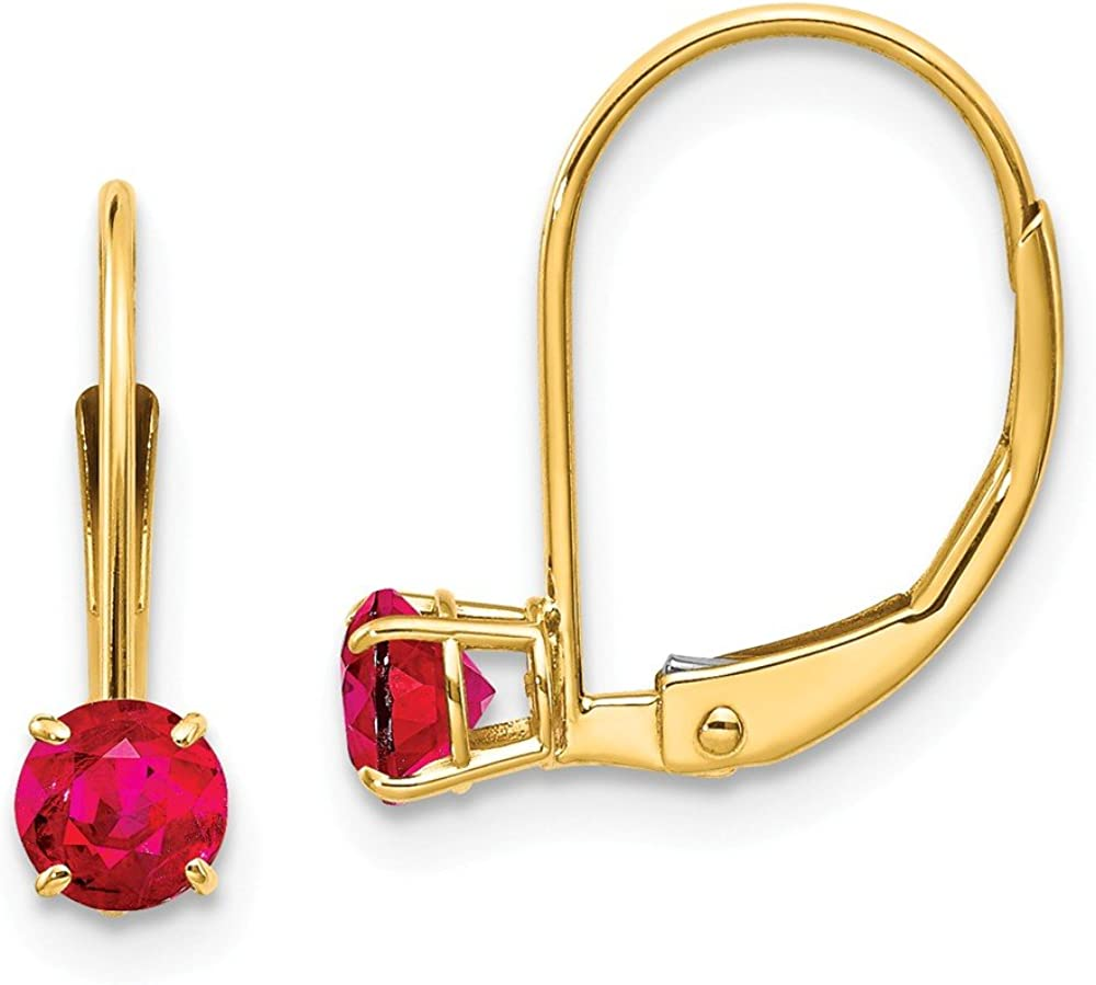 14k Yellow Gold 4mm Round July/ruby Leverback Earrings Lever Back Drop Dangle Birthstone July Fine Jewelry For Women Gifts For Her