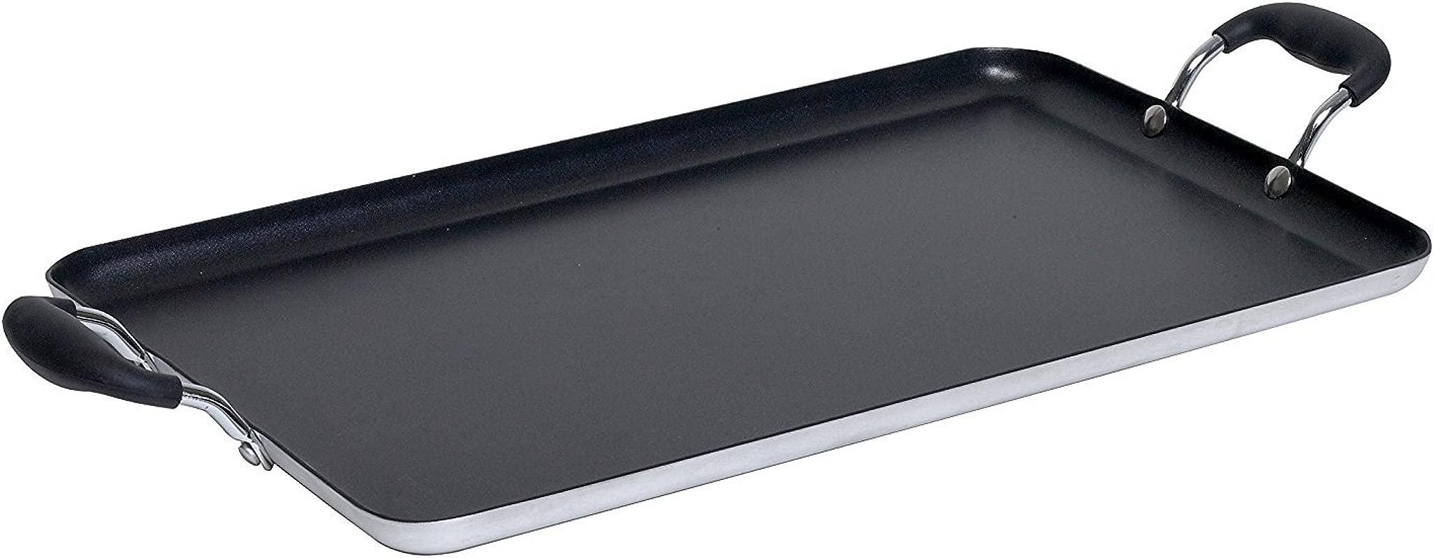 IMUSA USA IMU 1814 Double Burner Griddle Non Stick 17 Inch Black