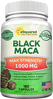 Pure Black Maca Root - 180 Capsules - Max Strength 1000mg Per Serving - Gelatinized Maca Root Extract Supplement from Peru - Natural Pills to Support Reproductive Health & Energy - Non-GMO