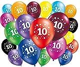 FABSUD - Globos de cumpleaños (10 años) – Lote de 20 globos 10