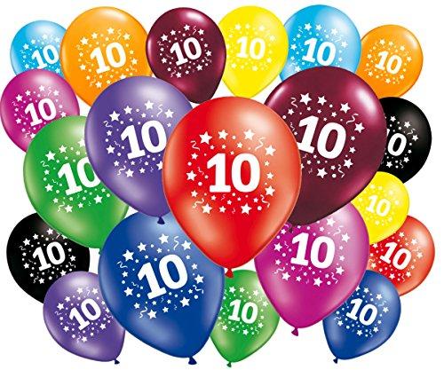 FABSUD Ballons Anniversaire 10 Ans - Lot de 20 Ballons 10