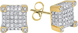 Dazzlingrock Collection 0.25 Carat (ctw) 10K Gold Round Diamond Dice Shaped Hip Hop Mens Stud Earrings 1/4 CT