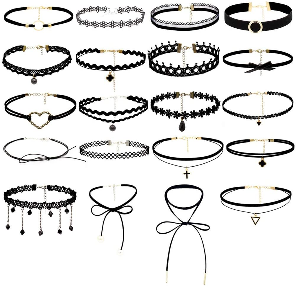 Choker Set 20 Pcs Adjustable Outlet ☆ Free free Shipping Black Necklace Classic Foot
